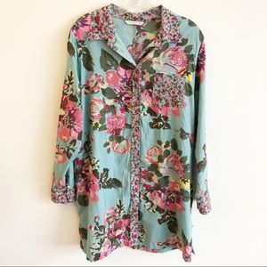 Soft Surroundings Teal Floral Tunic Button Down XL
